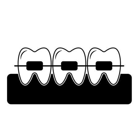Installed dental braces icon. Vector illustration of dental implant