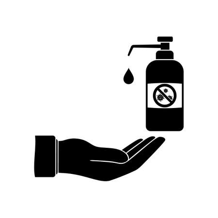 Hand disinfection icon. Wash and clean dirty hands of bacteria and viruses. Bottle of antiseptic and disinfectant.