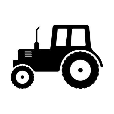 Tractor icon. Black and white vector illustration farm transport. Vettoriali