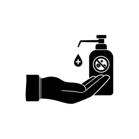 Hand disinfection icon. Wash and clean dirty hands of bacteria and viruses. Bottle of antiseptic and disinfectant. Vetores