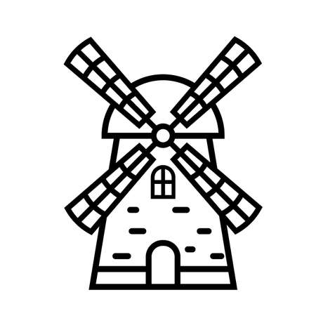Windmill linear icon. Black and white vector illustration of a mill. Ilustrace