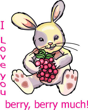 Enjoy Raspberry with garden rabbit designs Иллюстрация