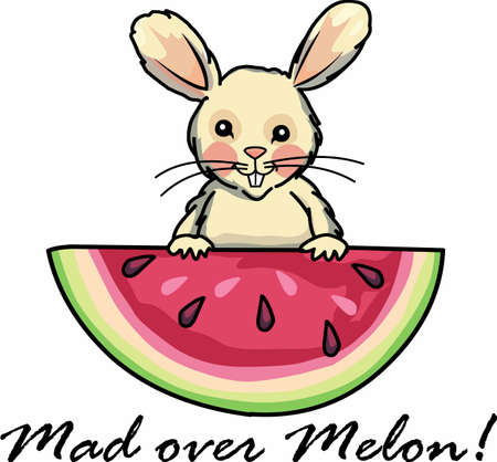Use this lovely bunny with melon designs on your projects.