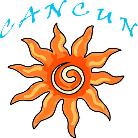 cancun: Use this Sun Design for your next Solar System Project Illustration
