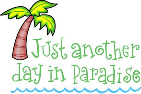 パーム ビーチに素敵な熱帯休暇があります。  イラスト・ベクター素材