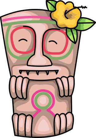 This tiki image from Great Notions to remember your vacation. Иллюстрация