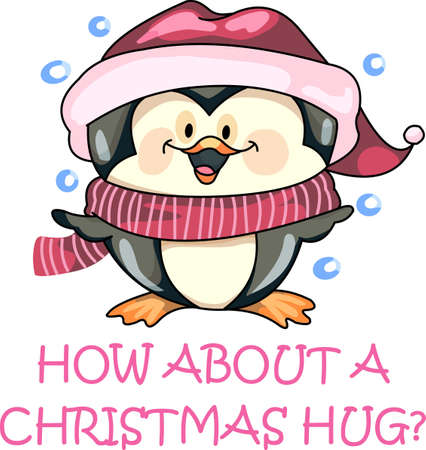 Send holiday cheers with this beautiful Christmas penguin.