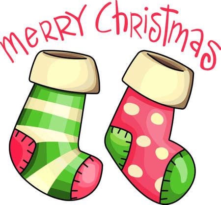 Senden Sie Feiertagsbeifall mit dieser schönen Weihnachtsstrümpfe. Standard-Bild - 44834075