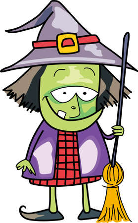 The not so wicked witch lives here.  She is busy getting her outfit ready for next Halloween. 矢量图像