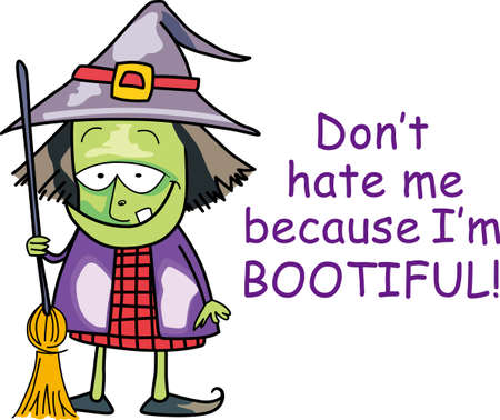 getting ready: The not so wicked witch lives here.  She is busy getting her outfit ready for next Halloween. Illustration