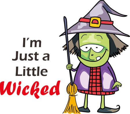 wicked: The not so wicked witch lives here.  She is busy getting her outfit ready for next Halloween. Illustration