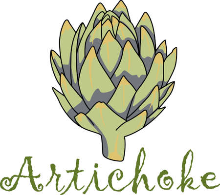 This artichoke is perfect to add for a gift to a gardener.  They will love it. Vettoriali