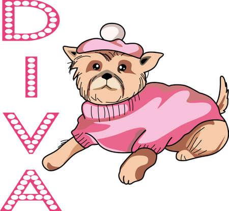 Iedereen houdt van hun puppy te verwennen. Krijg deze diva hond voor een vriend. Het is zo schattig. Stock Illustratie