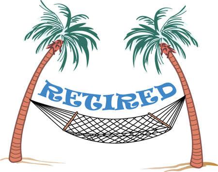 Ontspannen onder de palmboom is een prachtige manier om een vakantie door te brengen. Stock Illustratie