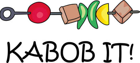 kabob: Cookin barbeque cooking on a nice summer day enjoying the family picnic! Dont forget to let the flame get out of hand and burn these great kabobs.  Everyone will love it! Illustration