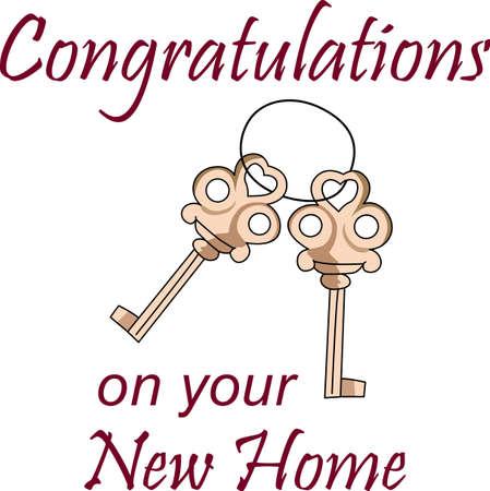 Envoyer un félicitations uniques sur votre nouvelle maison avec ces touches anciennes. Parfait pour ajouter à serviettes! Banque d'images - 44923568