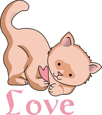puss: Send a love note to your loved one.  These cute cats are perfect.  They will love it! Illustration