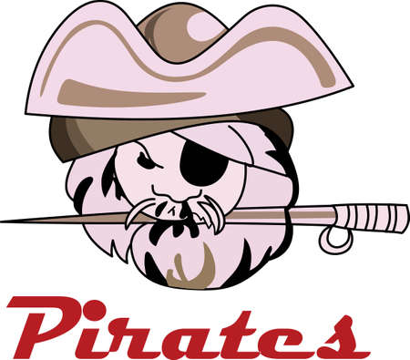Time to cheer for the team with this Pirate mascot design. Stok Fotoğraf - 44923722