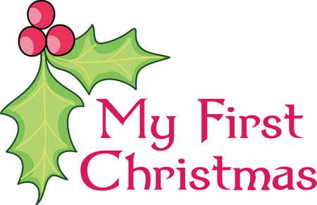 De hulst van Kerstmis is een perfecte aanvulling op uw ontwerp. Voeg toe aan een zak of een hoed. Stock Illustratie