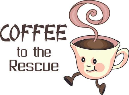 편안한 오후를위한 완벽한 또한, 커피 좋아하는 컵. 일러스트