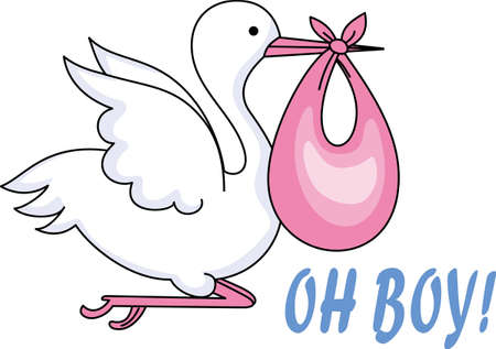 baby delivery: The stork makes a special delivery to mom and dad.  This is the perfect design to welcome baby home.  Everyone will love it!