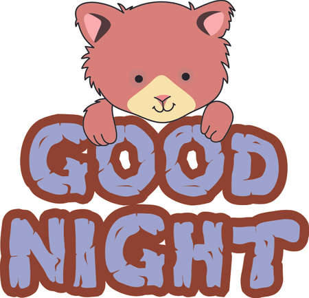 Good night!  This cute bear of happiness is wishing you a very good nights sleep with its happy smile. Ilustração