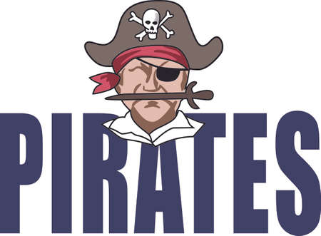 Show your team spirit with this Pirate.  Perfect on a shirt or jacket. Everyone will love it!