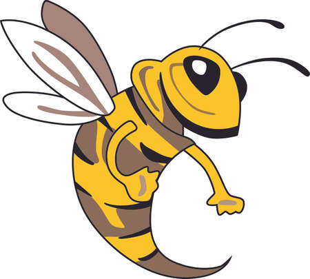 Show your team spirit with this yellow bee.  Perfect on a shirt or jacket. Everyone will love it!