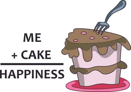 I ' l は明日私の食事を開始します。 このカロリーを無料でケーキのスライスをお楽しみください。  イラスト・ベクター素材