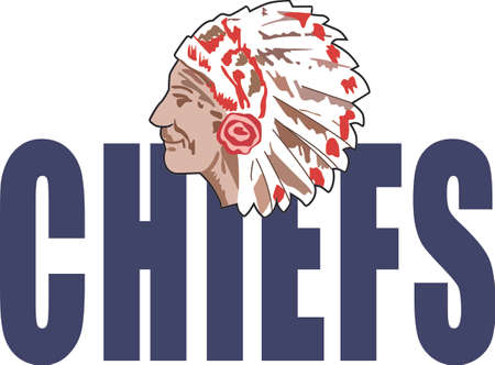 chiefs: Show your team spirit with this Chief.  Perfect on a shirt or jacket. Everyone will love it! Illustration