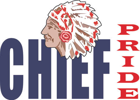 indian chief mascot: Show your team spirit with this Chief.  Perfect on a shirt or jacket. Everyone will love it! Illustration