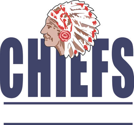 Show your team spirit with this Chief.  Perfect on a shirt or jacket. Everyone will love it! Ilustracja
