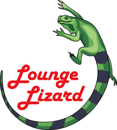 iguanas: This cute iguana is perfect to add to a pocket with a design to remember your cruise! Illustration