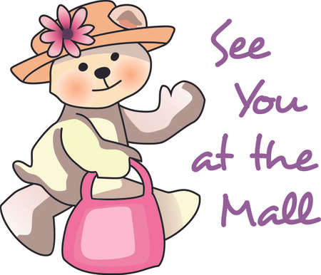 stuffed animal: This cute little bear is ready to go shopping. Put this on a shirt for everyone to wear for your next shopping adventure.  Everyone will love them! Illustration