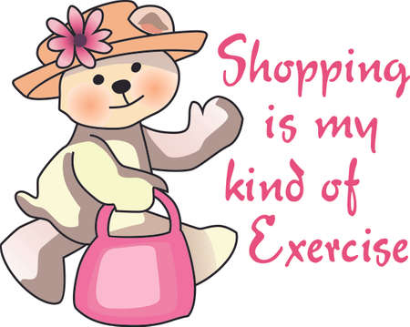 This cute little bear is ready to go shopping. Put this on a shirt for everyone to wear for your next shopping adventure.  Everyone will love them! Ilustrace