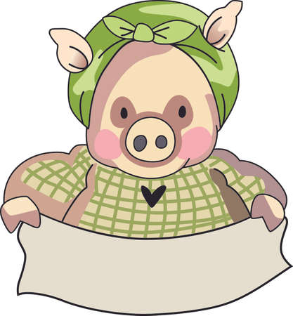 oink: This little piggy stayed home.  A cute design for the nursery. Illustration