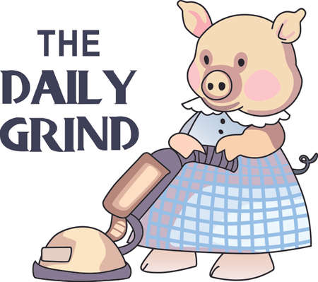 porker: This little piggy stayed home.  A cute design for the nursery. Illustration
