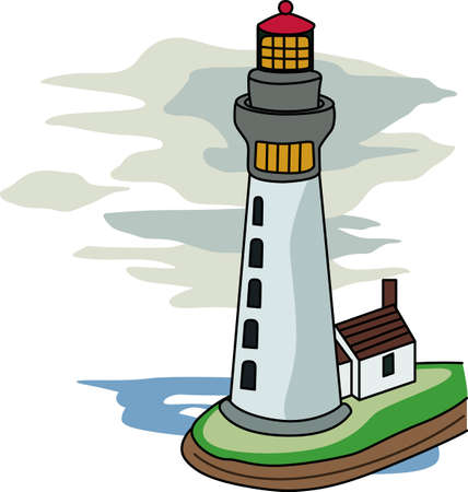 seas: A lighthouse is a beacon of light in the dark for ships on the seas. Illustration