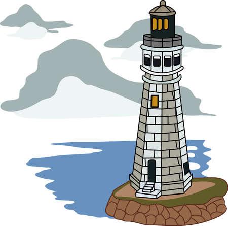 mares: Un faro es un faro de luz en la oscuridad de los buques en los mares. Vectores