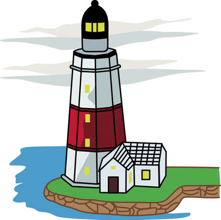mares: A lighthouse is a beacon of light in the dark for ships on the seas.  Vectores
