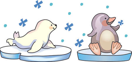 This adorable little penguin and baby seal perfect for your decorating.   The students will love it! Çizim