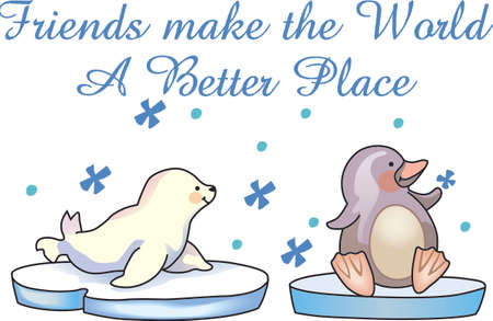 flightless bird: This adorable little penguin and baby seal perfect for your decorating.   The students will love it! Illustration