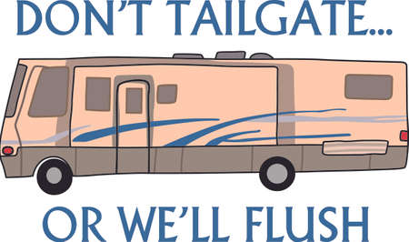 motorhome: Hop in the motor home and enjoy vacation with this design to decorate. Illustration