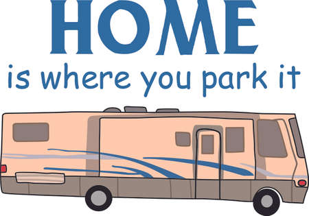 Hop in the motor home and enjoy vacation with this design to decorate. Illustration