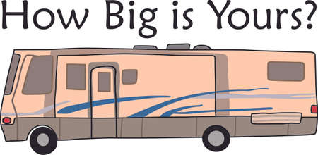 motor home: Hop in the motor home and enjoy vacation with this design to decorate. Illustration