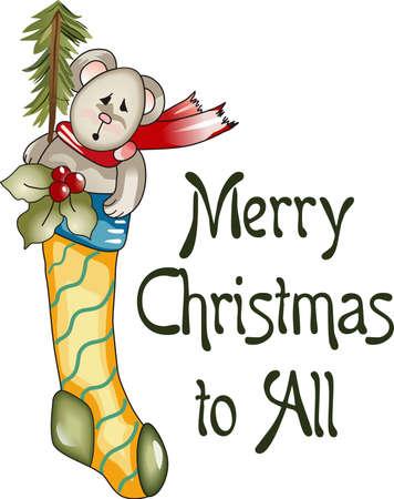 Senden Sie Feiertagsbeifall mit diesen schönen Weihnachts-Strumpf. Standard-Bild - 44945836