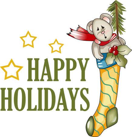 Send holiday cheers with these beautiful Christmas stocking.   Ilustração