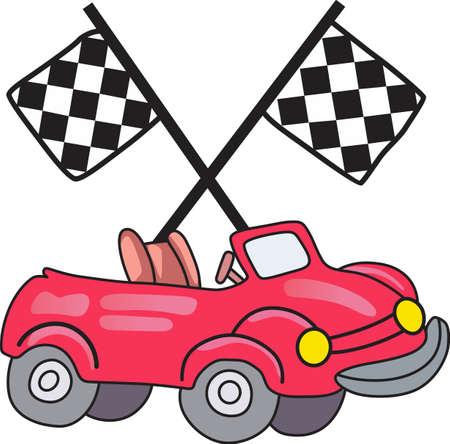 高速でこの赤いスポーツ ・ カーと激怒。 次のレースのための完璧なデザイン。  イラスト・ベクター素材