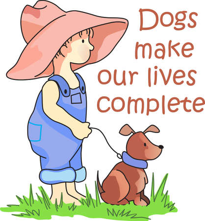 doggies: A dog is a heartbeat at your feet.  This is a perfect design for a little one. Illustration