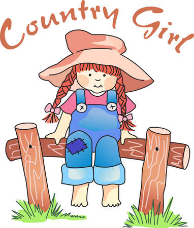 country girl: This is a beautiful girl enjoying the country. Illustration